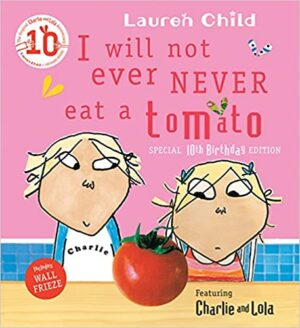 I will not ever never eat a tomato. A boy and a girl sit at a table looking at a big tomato.