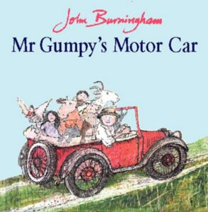 Mr Gumpy's Motor Car by John Burningham. An elderly man is at teh steering wheel of an old fashioned open-top car, full of farm animals.