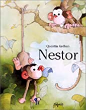Nestor, written and illustrated by Quentin Graeban. Two little monkeys playing in a tree.