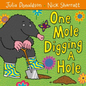 One Mole Digging a Hole, written by Julia Donaldson and illustrated by Nick Sharratt. A mole wearing psychedelic welly boots digging a hole in a pretty little garden.