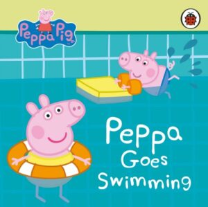 Peppa Goes Swimming. A girl pig, wearing a swimsuit and a rubber ring, floats in pool along with a boy pig wearing trunks and armbands, kicking his legs and holding a float.