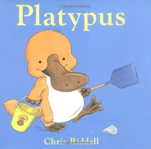 Platypus, written and illustrated by Chris Riddell. A little orange duck billed platypus with a bucket and spade, strolling along a beach.