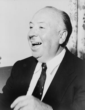 Black and white photograph of Alfred Hitchcock.