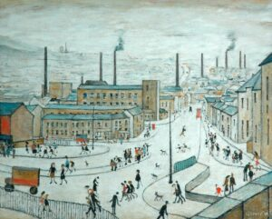The bustling town of Huddersfield during the 1960s depicting matchstick figures and towering mills in the foreground and hills in the background.