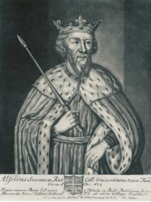 Drawing of King Alfred the Great in regal robe and crown and holding a sword.