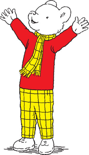 Illusration of Rupert Bear with arms outstretched, in red top and yellow checked scarf and trousers.
