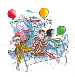 The Wonderful World of David Walliams. A group of five children wearing pyjamas and sitting in a hospital bed, surrounded by balloons.