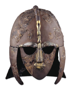 Sutton Hoo Helmet, copper helmet with full face mask.
