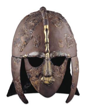 Sutton Hoo Helmet, copper helmet with full face mask.
