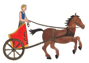 Ancient Egyptian Charioteer. A man chariot racing in red chariot with horse galloping in front.