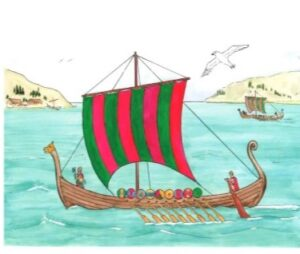 Wooden longship with large red and green sail, in an estuary.