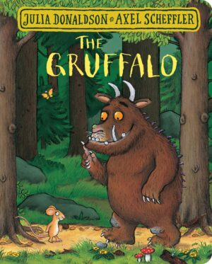 The Gruffalo written by Julia Donaldson and illustrated by Axel Scheffler. The Gruffalo with purple spikes and terrible teeth and tusks in the middle of the forest chatting to a mouse.