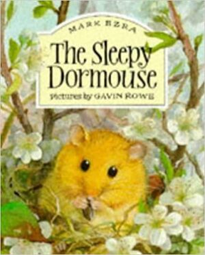 The Sleepy Dormouse front cover showing a cosy little dormouse surrounded by hedge and nibbling on something he is holding to his mouth.