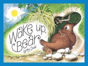 Wake up Bear, written and illustrated by Lynley Dodd. A little brow bear, sleeping in the mouth of a cave.