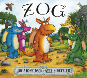 Zog, written by Julia Donaldson and illustrated by Axel Scheffler. Zog, a friendly orange dragon, is in a woodland chatting to a small group of his dragon friends.