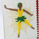 A girl wearing a yellow leotard and green skirt, green headband, arms out, one leg out as she dances.Green and yellow dots behind her in a starburst.