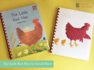 Book with feely picture showing the little red hen and two yellow chicks.