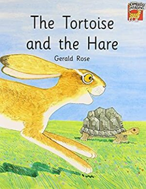 The Tortiose and the Hare front cover showing a tortoise walking to the right and a hare, front legs out stretched, just coming into the picture on the left.
