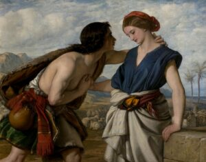 A young man is paying close attention to a young lady as she stands by a wel,l tending her flock of sheep.