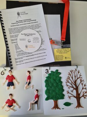Tactile pictures of different body positions, a tree with leaves and a tree with no leaves. A CD a USB on a lanyard and an A4 pamphlet.