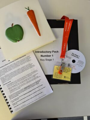 A tactile picture showing an apple and carrot, a usb on a lanyard, a CD and an A4 pamphlet.
