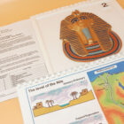 Shot of Ancient Egypt pack with guidance notes, tactile picture of Tutankhamun and map of the Nile