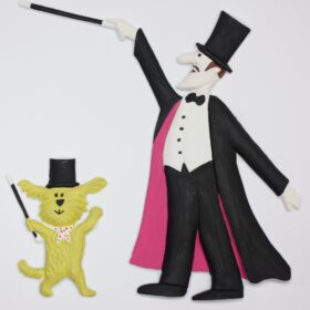 Magician and Buffy the dog tactile picture
