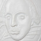 Close-up of tactile of Shakespeare, with large collar, and hair to ears
