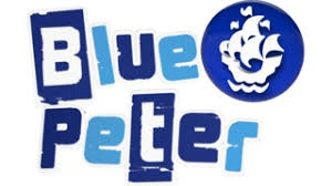 The words Blue Peter in royal and light blue. with the sailing ship logo.