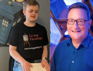 Louis sitting feeling a tactile picture, aside a photo of Chris Chibnall wearing glasses and smiling.