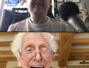 A split screen photo Louis at the top smiling and Tom Baker below smiling.